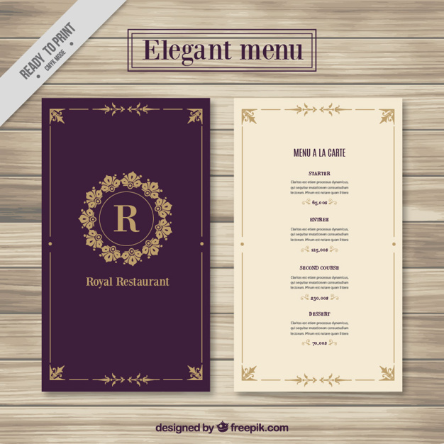 Royal Looking Menu Card Mockup