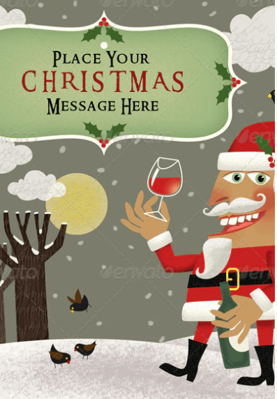 Santa Offering a Glass of Wine on the Christmas Day Mockup