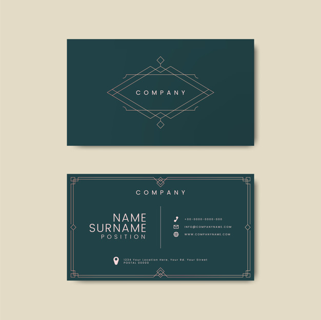 Sap Green Business Card With Thin Logo/Stripes On Middle
