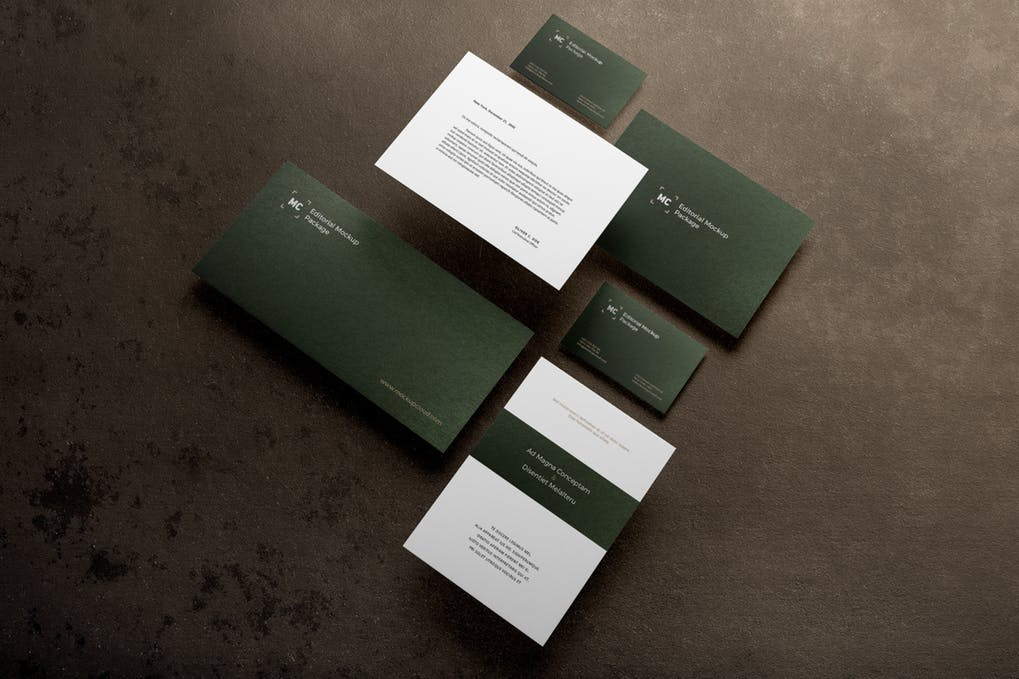 Sap Green Color Business Card Mockup