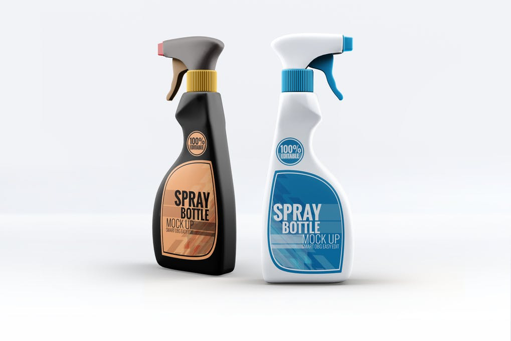 Set of 2 Spray Bottle Design Mockup:
