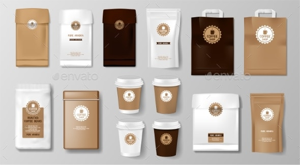 Set of Realistic Coffee Packaging Mockup