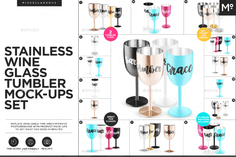 Set of Stainless Wine Glass Mockup