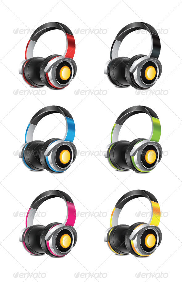 Sets Of Multicolored Headphones PSD Mockup.
