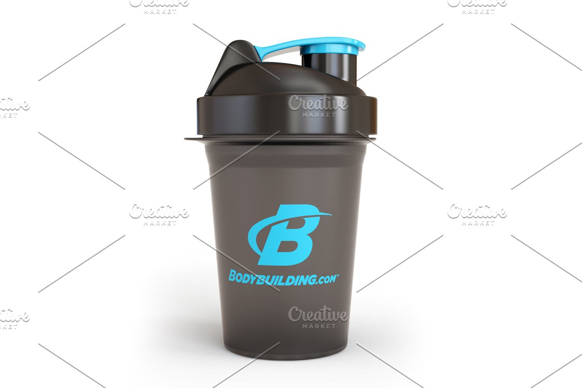 Shaker Cup With A Blue Cap Mockup PSD.