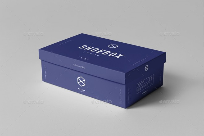 Shoe Packaging Kraft Box PSD Mockup