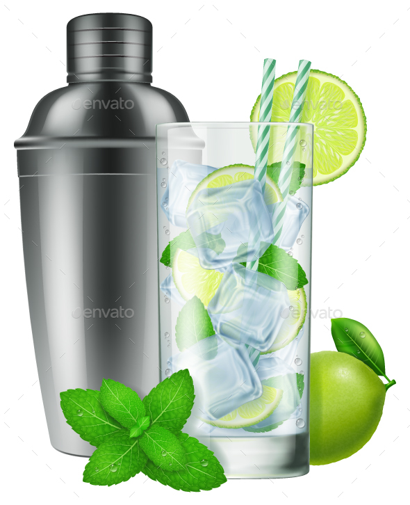 Silver Shaker With A Glass Of Mojito Mockup PSD.