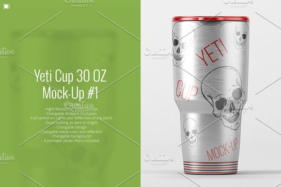 Silver Yeti Cup Design Template in PSD
