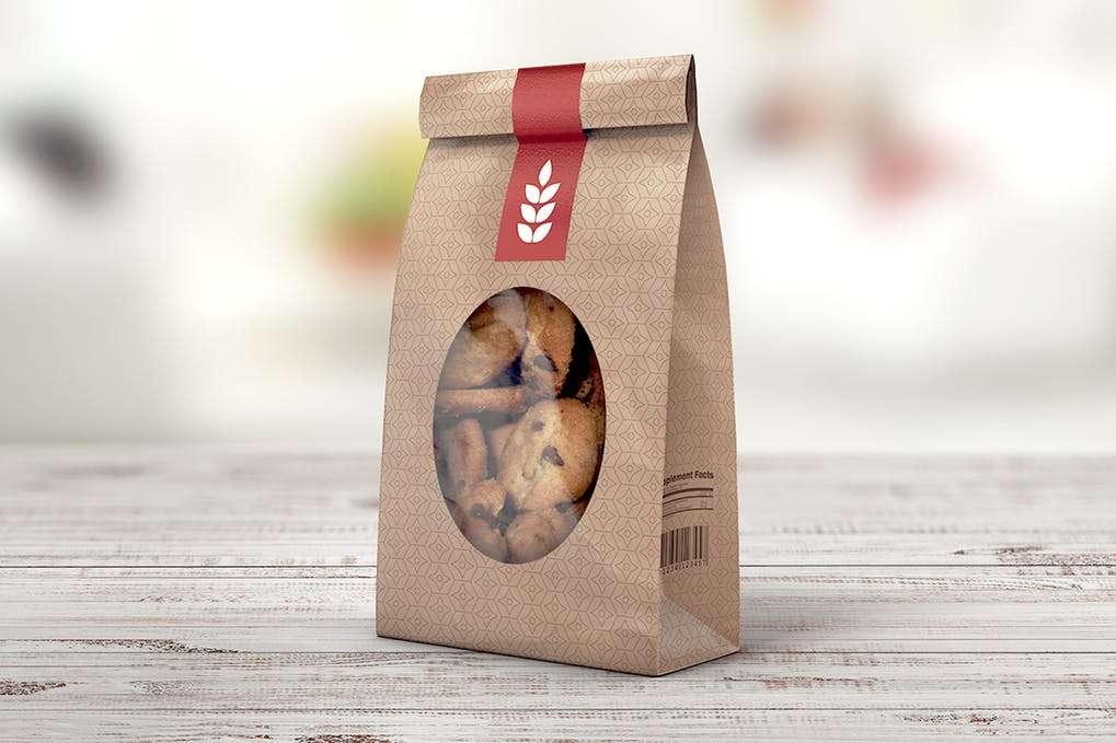 Simple Brown paper bag Mockup.