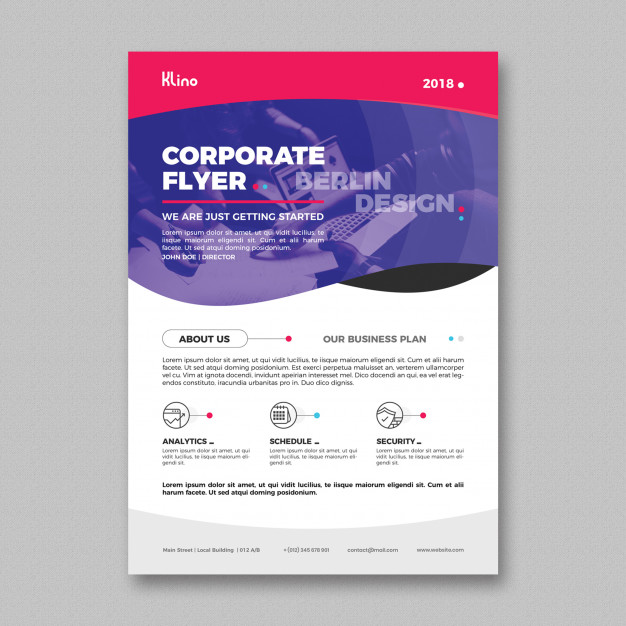 Simple Corporate Design A4 Flyer Mockup Free Design Template