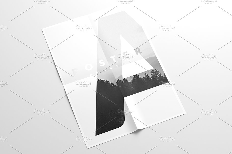 Simple Flyer Mockup With Grey Background