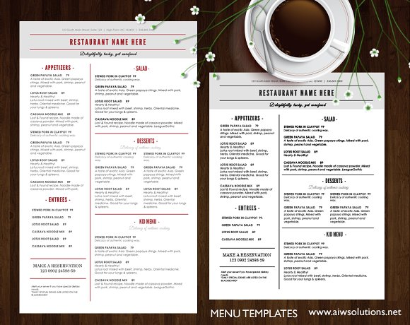 Simple Menu Card PSD