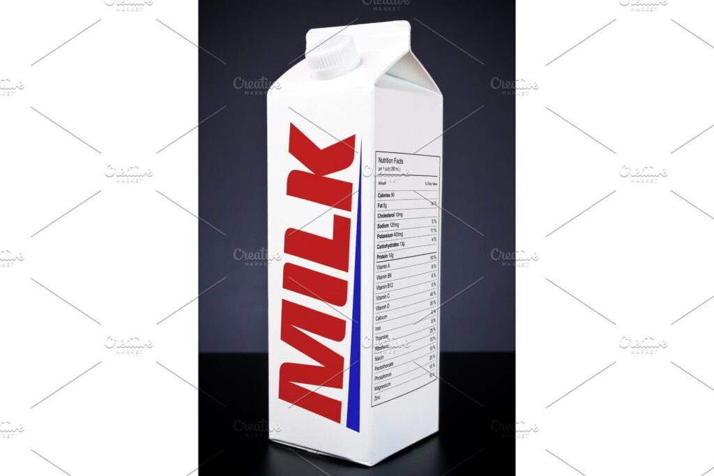 Simple One White Color Milk Box Illustration