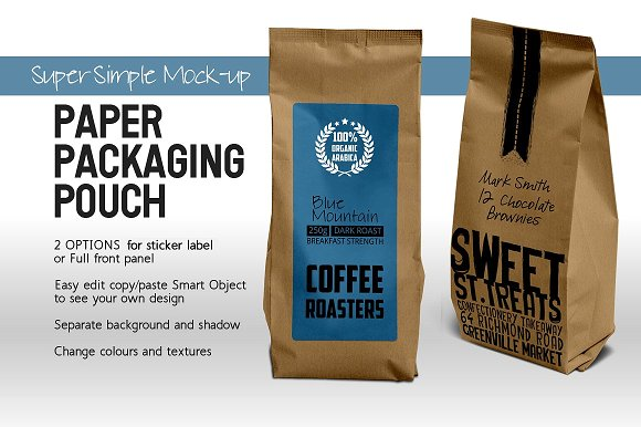 Simple Paper Packaging Pouch Mockup