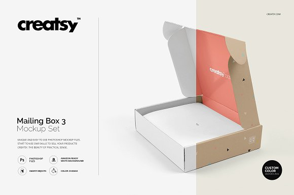 Simple grey color cardboard mockup box.