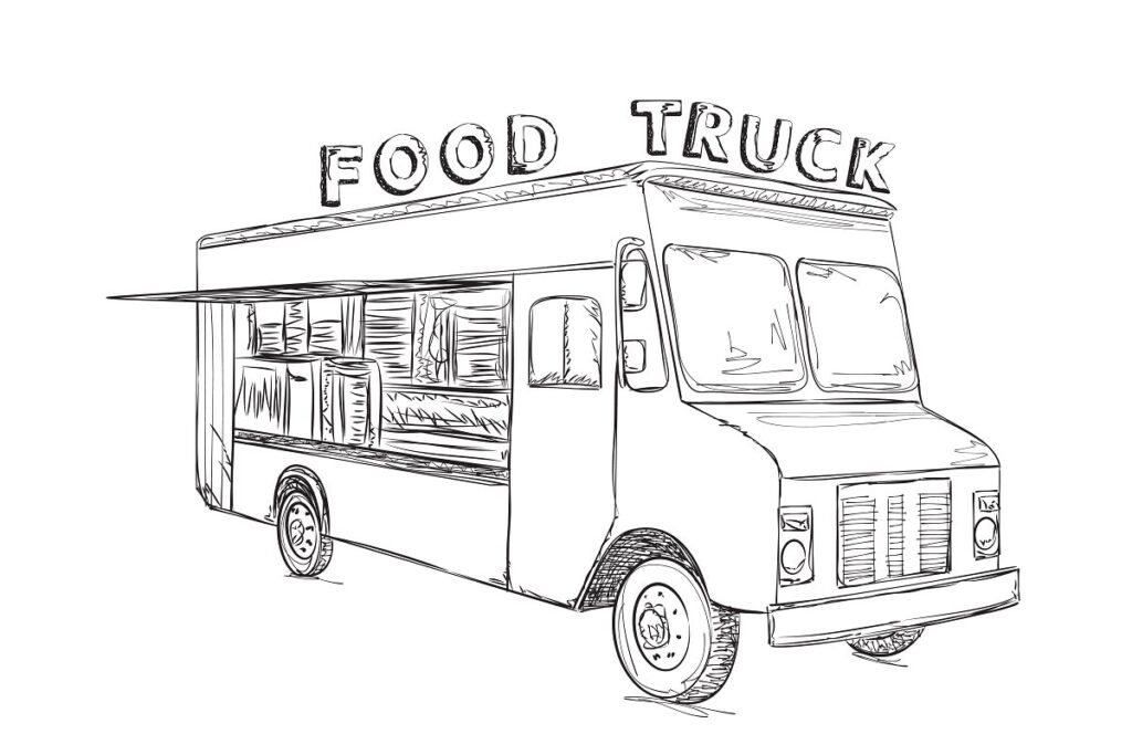 Sketch Of AFood Truck PSD File.