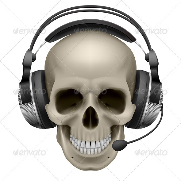Skull Wearing A Headphone PSD Mockup.