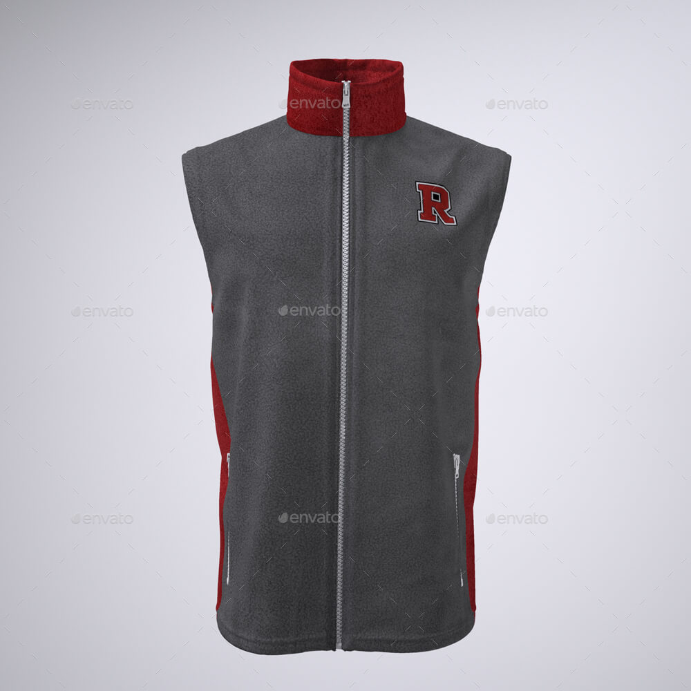 Sleeveless Vest or Jacket PSD Mockup.