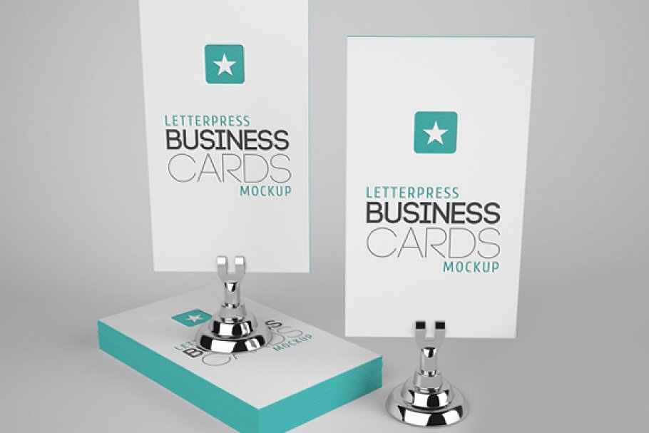 Slim Letterpress Theme Two Business Card Illustration