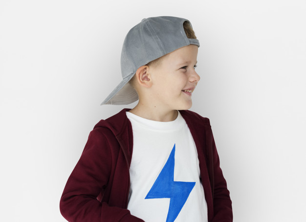 Small Boy Wearing Round Grey Color Snapback Cap
