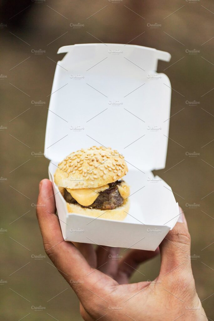 Small Burger In A Box Mockup.