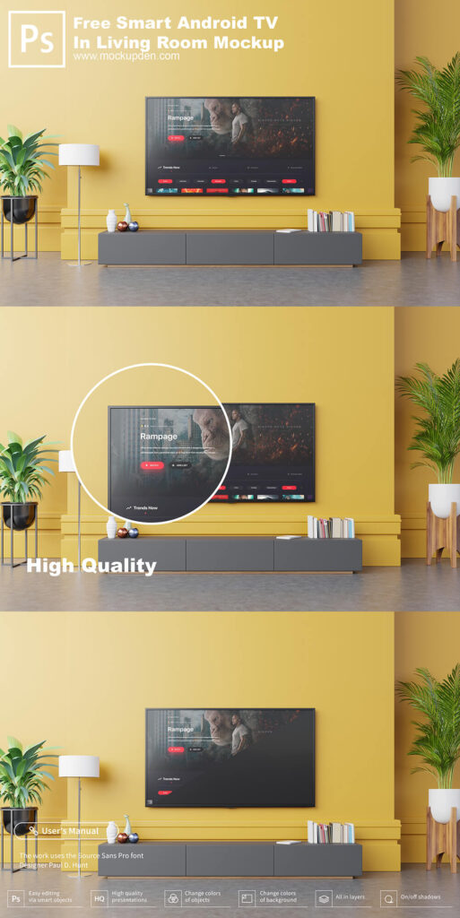 Free Android Smart TV In Living Room Mockup PSD Template