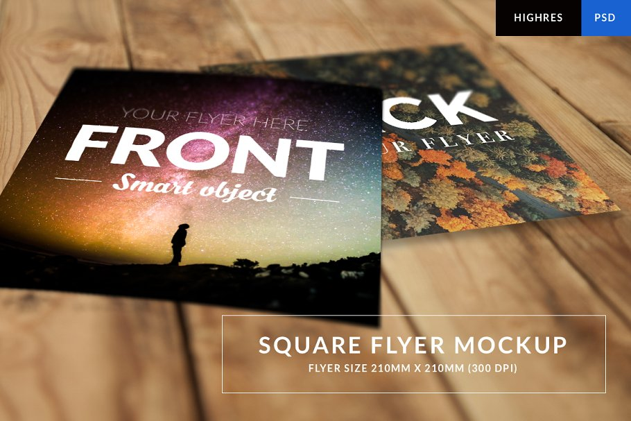 Smart Galaxy Print Square Flyer PSD File Illustration