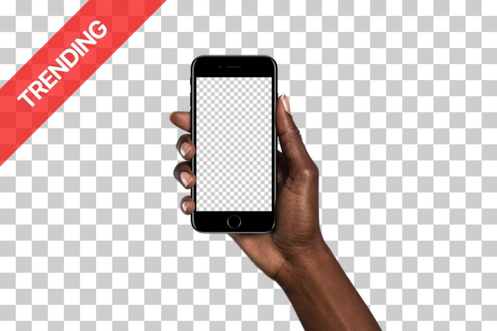 Smartphone in Diverse Hand PSD Mockup.