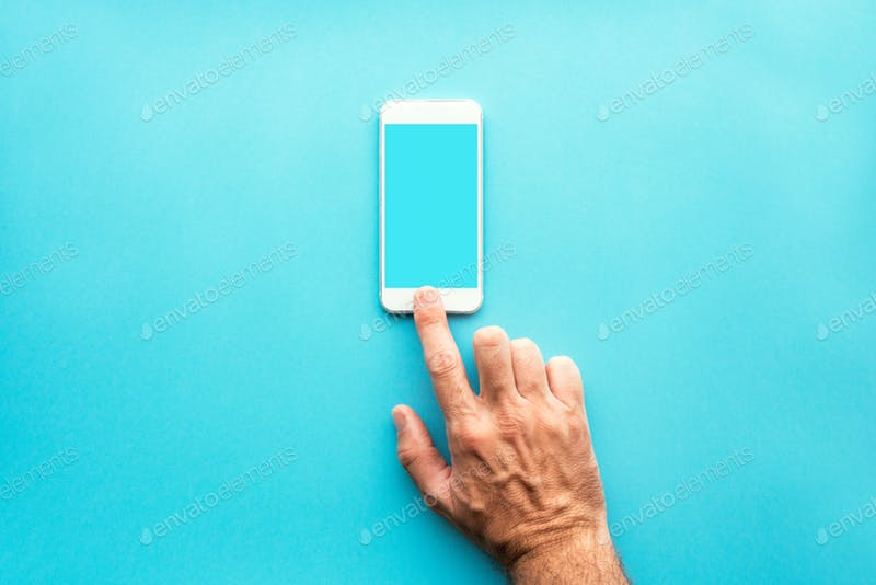 Smartphone with blank mockup screen using hands PSD.