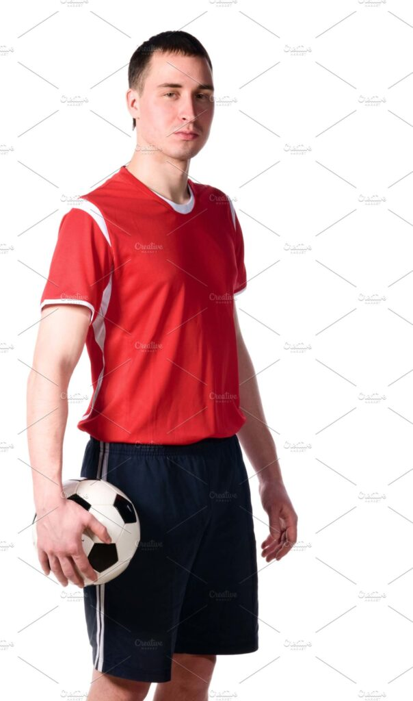 Soccer Player Wearing Soccer T-Shirt And Posing