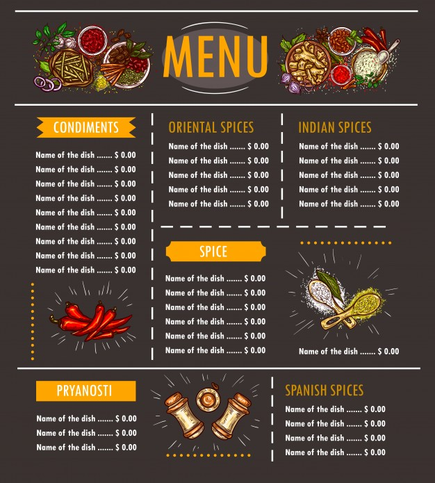 Special offer of various Types Menu Mockup
