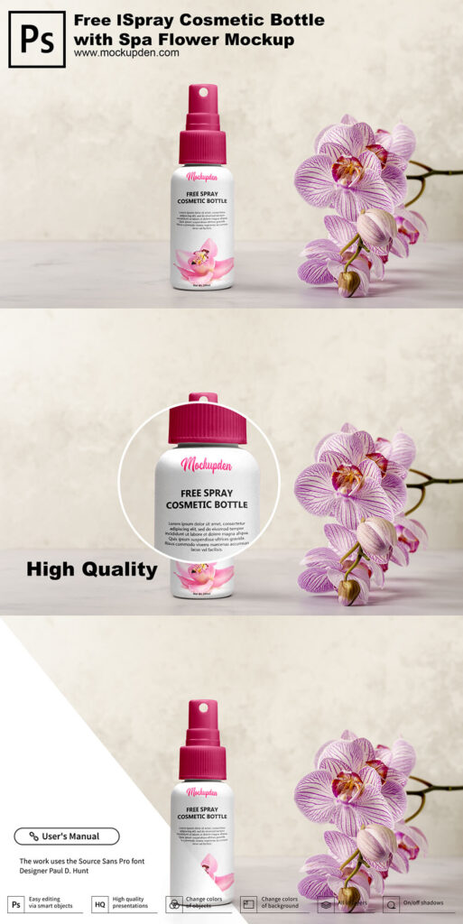 Free Spray Cosmetic Bottle Mockup PSD Template
