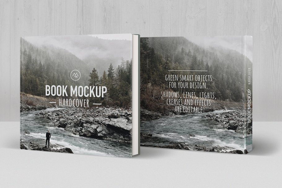 Square Book Mockup With Hilly Scene Printed On It