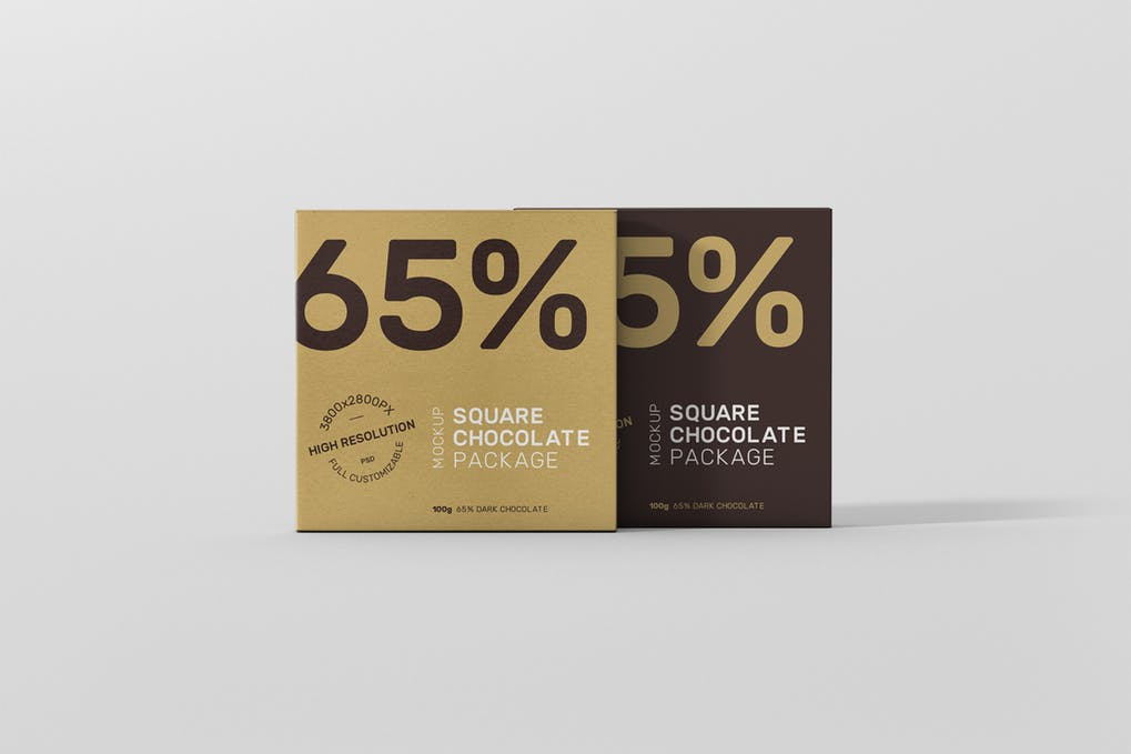 Square Chocolate Packing Box Mockup