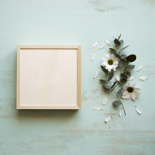 Square Frame Box Mockup With Simple Background: