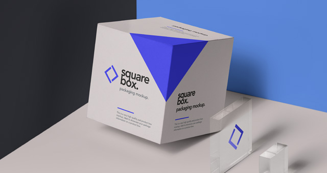 Square Grey And Blue Color Box Mockup