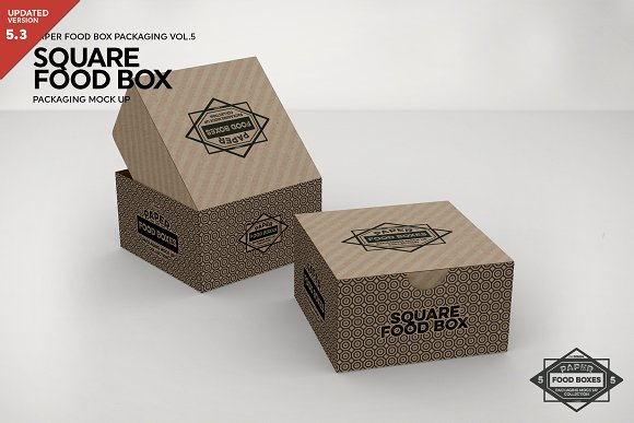 Square Open Paper Box PSD Collection