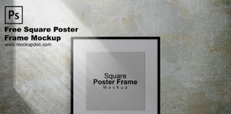 Free Square Poster Frame Mockup PSD Template