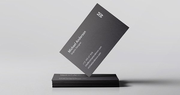 Standing Black Business Card Mockup