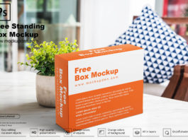 Free Standing Box Mockup PSD Template