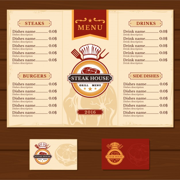 Steak House Grill Menu Card