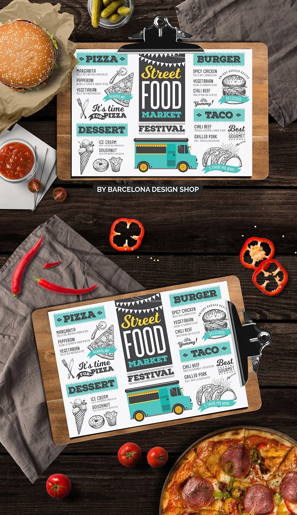 Street Food Truck Menu Card Mockup