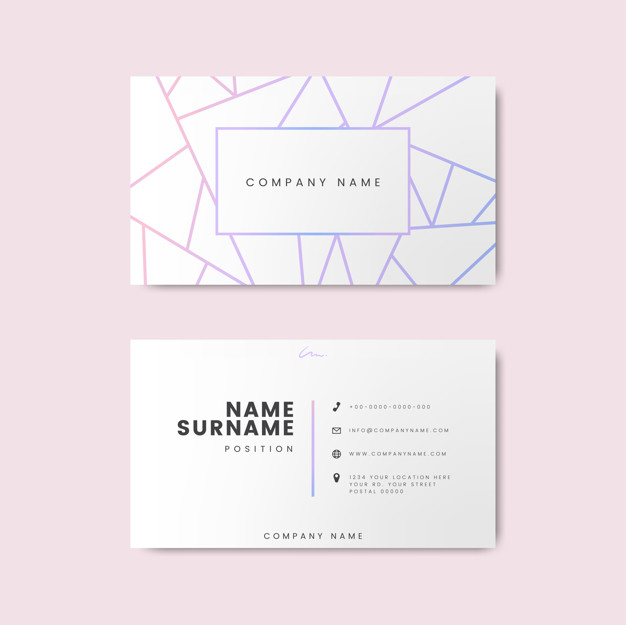 Stripes Printed White Color Business Card Vector Format