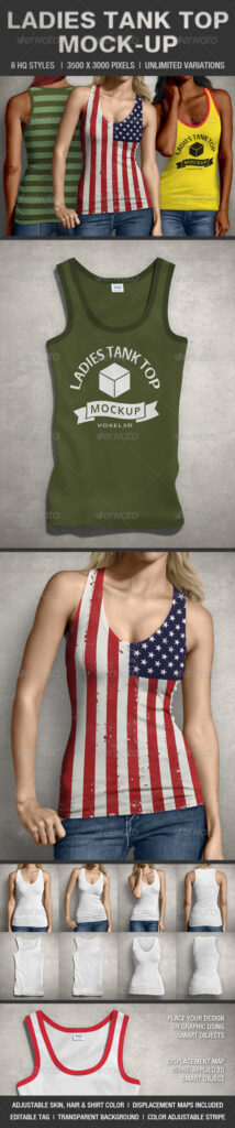 Stylish And Editable Ladies Tank Top Design PSD