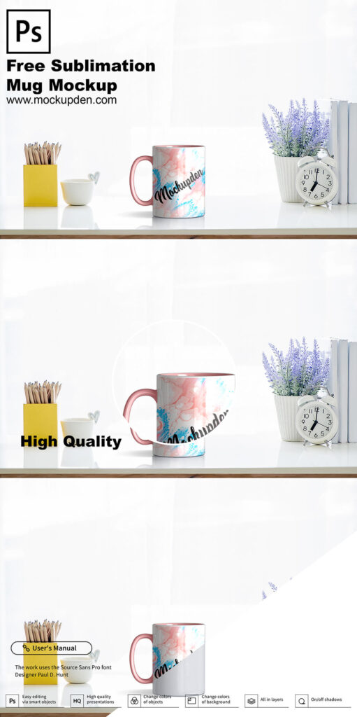 Free Sublimation Mug Mockup PSD Template