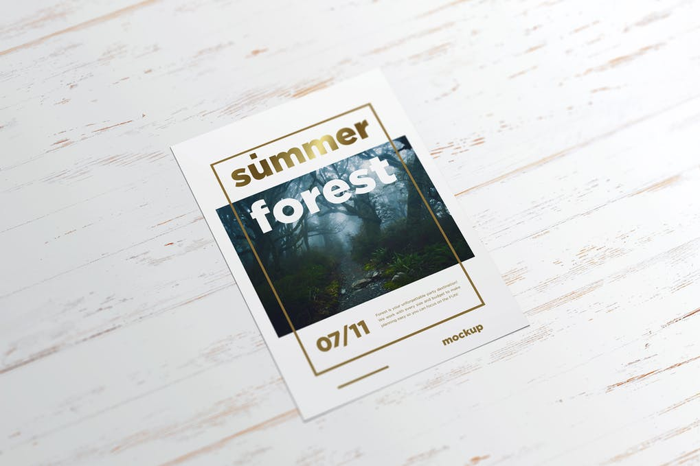 Summer Forest Poster Mockup With White Wooden Background