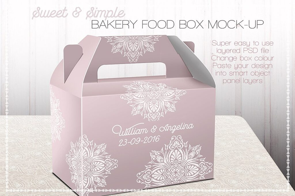 Sweet And Simple Bakery Food Box Design template in PSD Format