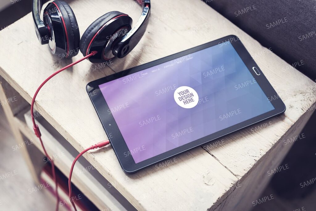 Tablet PC Connected With A Earphone Mockup.