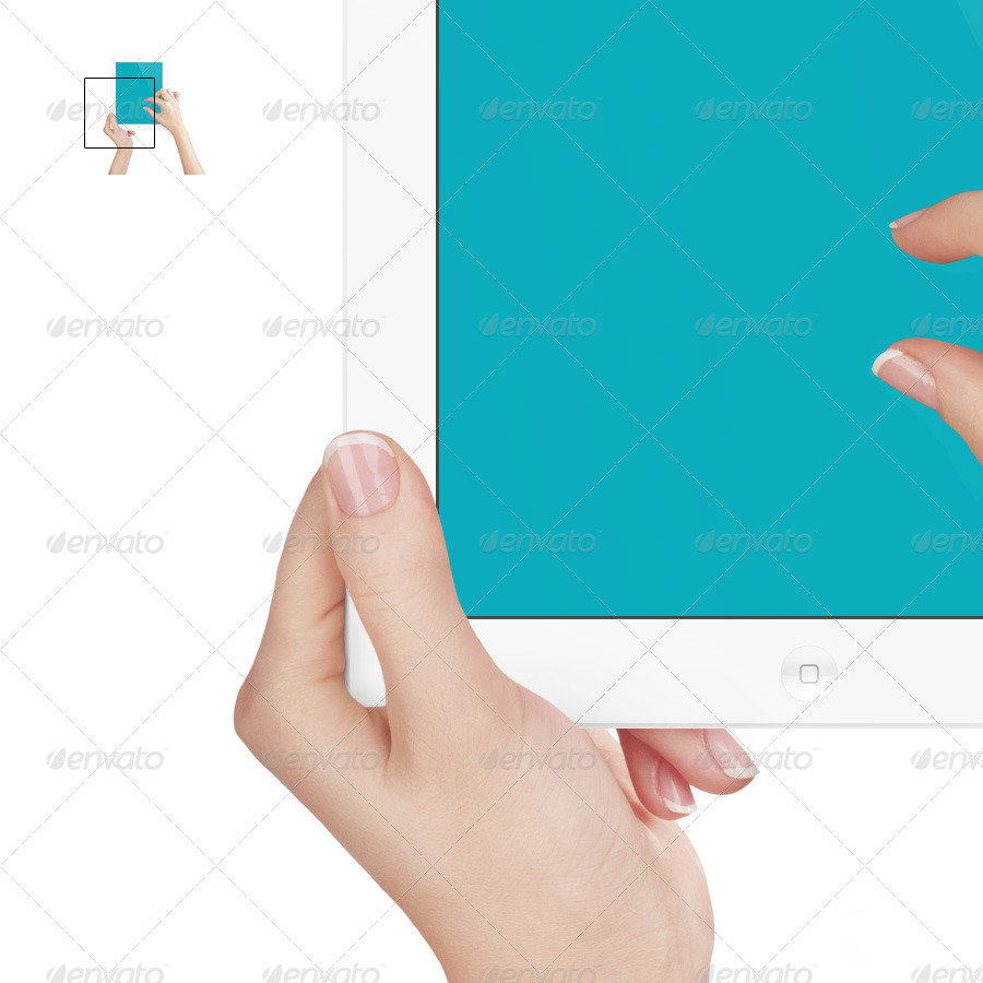 Tablet Pad with Hands Mockup | White Edition