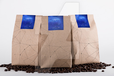 Three Coffee Packing Paper Bag Mockup